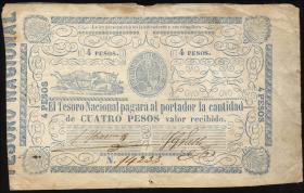 Paraguay P.024 4 Pesos (1865) (3-)