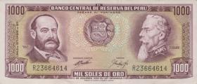 Peru P.105b 1000 Soles de Oro 1971-72 (1-)