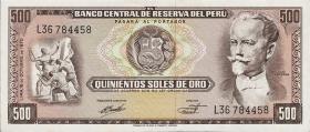 Peru P.104b 500 Soles de Oro 1970 (1-)