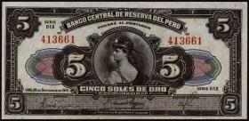 Peru P.066Aa 5 Soles 1941 (2+)