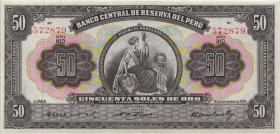 Peru P.072 50 Soles de Oro 1954 (2+)