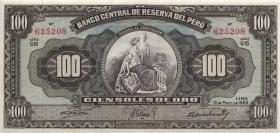 Peru P.079b 100 Soles de Oro 1959 (2+)