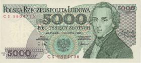 Polen / Poland P.150c 5000 Zlotych 1988 Chopin (1)