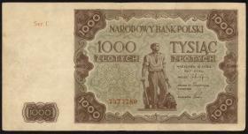 Polen / Poland P.133 1000 Zlotych 1947 (3+)