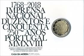 Portugal 2 Euro 2018 250 J. Münzstätte im Folder PP