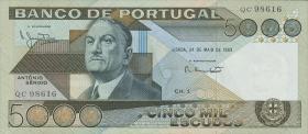 Portugal P.182c 5000 Escudos 1983 (1-)
