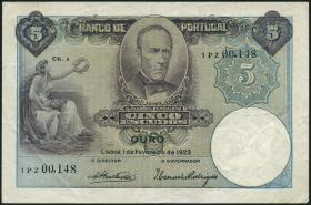 Portugal P.114 5 Escudos 1923 (3+)