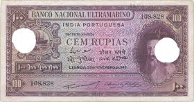 Port.-Indien / Port.-India P.39 100 Rupien 1945 entwertet (4)