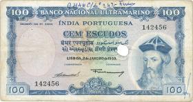 Port.-Indien / Port.-India P.43 100 Escudos 1959 entwertet (4)