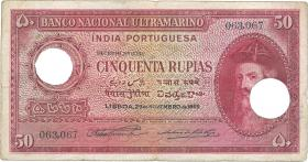 Port.-Indien / Port.-India P.38 50 Rupien 1945 entwertet (4)