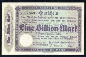 PS1260b Reichsbahn Hannover 1 Billion Mark 1923 (1)