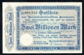 PS1261 Reichsbahn Hannover 2 Billionen Mark 1923 (2)