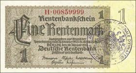 R.166d: 1 Rentenmark 1937 mit belgischem Gemeindestempel (3)