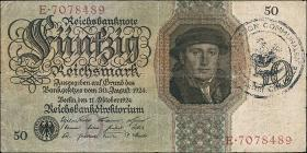 R.170b: 50 Reichsmark 1924 mit belg. Gemeindestempel (3)