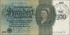 R.171b: 100 Reichsmark 1924 mit belg. Gemeindestempel (3)