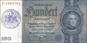 R.176e: 100 Reichsmark 1935 mit belgischem Gemeindestempel (3+)