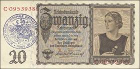 R.178b: 20 Reichsmark 1939 mit belgischem Gemeindestempel (2)
