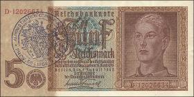 R.179c: 5 Reichsmark 1942 mit belgischem Gemeindestempel (1-)