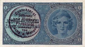 R.556a: Böhmen & Mähren 1 Krone o.D. Handstempel (1)