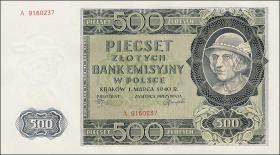 R.578: Generalgouv. Polen 500 Zlotych 1940 (1/1-)