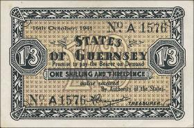R.642: Guernsey 1 Shilling / 3 Pence 1941 (1-)
