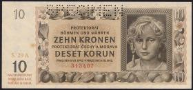 R.562b: Böhmen & Mähren 10 Kronen 1942 A Specimen (1-)