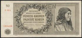 R.564b: Böhmen & Mähren 50 Kronen 1944 Specimen (2)