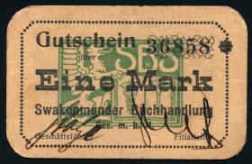 R.955: Swakopmunder Buchhandlung 1 Mark (1916) (2+)