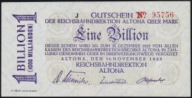 Reichsbahn Altona 1 Billion Mark 1923 mit No. (1)