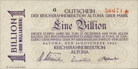 PS1125 Reichsbahn Altona 1 Billion Mark 1923 ohne No. (1)