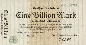Reichsbahn Berlin 1 Billion Mark 1923 (1)