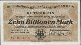 Reichsbahn Frankfurt 10 Billionen Mark 1923 (1-)