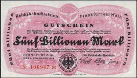Reichsbahn Frankfurt 5 Billionen Mark 1923 (1-)