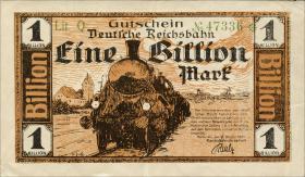 Reichsbahn Karlsruhe 1 Billion Mark 1923 (1-)