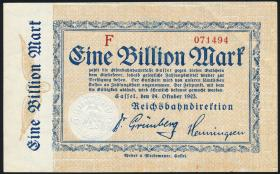 Reichsbahn Kassel 1 Billion Mark 1923 ohne No. (1-)