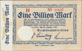 Reichsbahn Kassel 1 Billion Mark 1923 mit No. (1)