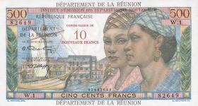 Reunion P.54b 10 Neue Francs auf 500 Francs (1971) (1)
