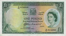 Rhodesien & Nyasaland P.21b 1 Pound 1960 (3/2)