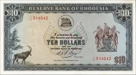 Rhodesien / Rhodesia P.33h 10 Dollars 19.11.1975 (1)