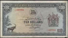 Rhodesien / Rhodesia P.37a 10 Dollars 1.3.1976 (3-)
