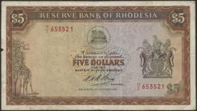 Rhodesien / Rhodesia P.32a 5 Dollars 1972 (3-)