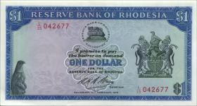 Rhodesien / Rhodesia P.30a 1 Dollar 1970 (1-)