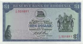 Rhodesien / Rhodesia P.30b 1 Dollar 16.4.1971 (1-)