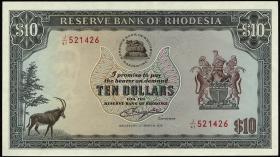 Rhodesien / Rhodesia P.37a 10 Dollars 1.3.1976 (1-)