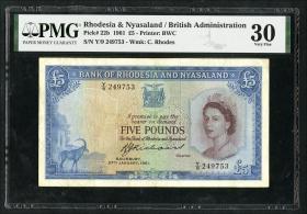 Rhodesien & Nyasaland P.22b 5 Pounds 1961 (3)