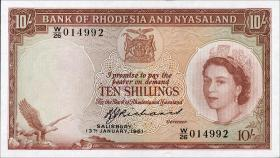 Rhodesien & Nyasaland P.20b 10 Shillings 1961 (1)