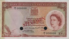 Rhodesien & Nyasaland P.20s 10 Shillings 1956 Specimen (1-)