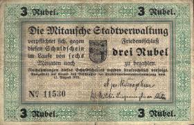 Lettland / Latvia LE 45b : 3 Rubel 1918 Mitau (4)