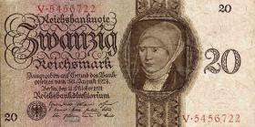 R.169: 20 Reichsmark 1924 Z/W (3+)