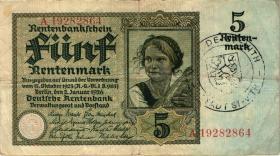 R.164c: 5 Rentenmark 1926 mit belgischem Gemeindestempel (3)